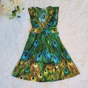 Papillon Sz Med Peacock Fit and Flare Short Dress